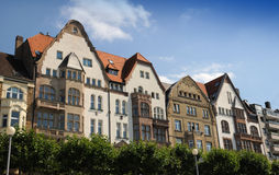 Typical houses on the waterfront - Düsseldorf. Row of old  houses in Dusseldorf, North Rhine-Westphalia, Germany Stock Images