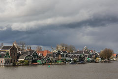 Typical houses of the Zaanse Schans in Holland, the Netherlands Stock Photos