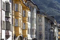 Typical housing facades in Bozen, Northern Italy. Typical romatic and colorful housing facades in Bozen Bolzano, Northern Italy, Europe royalty free stock image