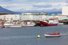 Typical Iceland Harbor with Fishing Boats Stock Photo