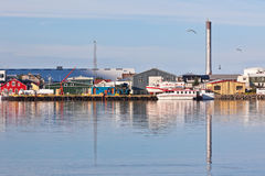 Typical Iceland Harbor with Fishing Boats Stock Photography