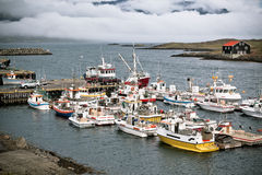 Typical Iceland Harbor with Fishing Boats Royalty Free Stock Image