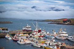 Typical Iceland Harbor with Fishing Boats Royalty Free Stock Photo