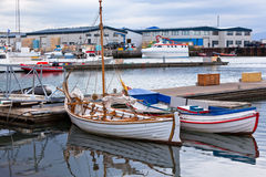 Typical Iceland Harbor with Fishing Boats at Overcast Day Stock Photography