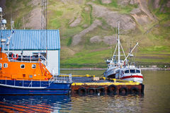Typical Iceland Harbor with Fishing Boats Stock Image