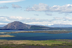 Typical Iceland morning seascape with farms in a fjord stock photography