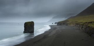 Typical Icelandic seascape with black basalt sand royalty free stock images