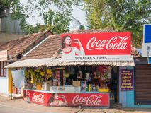 A typical Indian city store on the corner of a street in Alappuzha. Alappuzha, Kerala, India. 01/01/2018. A typical Indian city store on the corner of a street Royalty Free Stock Image