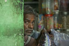 Typical Indian Man in a shop Stock Images