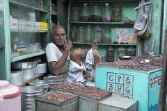 Typical Indian Man in a shop Royalty Free Stock Photos