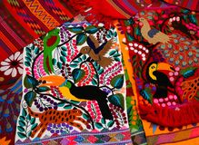 Typical indigenous Tzotzil Maya textiles created at Zinacantan near San Cristobal de la Casas Mexico stock image