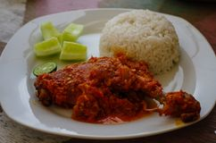Typical Indonesian Dish: Nasi Ayam Plecing Chicken with rice and special sauce.  royalty free stock photos