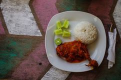 Typical Indonesian Dish: Nasi Ayam Plecing Chicken with rice and special sauce copy space left.  stock image