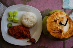 Typical Indonesian Dish: Nasi Ayam Plecing Chicken with rice and special sauce and young coconut bird`s eye.  royalty free stock images