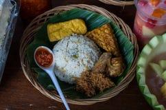 Typical Indonesian dish Nasi liwet.  royalty free stock photos