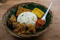 Typical Indonesian dish Nasi liwet close-up.  royalty free stock photos
