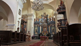 Typical interior of classical catholic church. Typical interior of classical old catholic church stock video