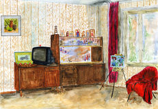Typical interior Soviet apartment. Watercolor. Stock Photography