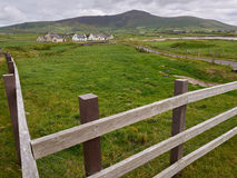 Typical Irish houses. Cover the hilly landscape of Dingle, Ireland stock images