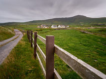 Typical Irish houses. Cover the hilly landscape of Dingle, Ireland Royalty Free Stock Photo