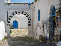 Picturesque corner in the medina. Sidi Bou Said.. Typical islamic archways and white houses and blue windows. The town was named after sidi Abou Said ibn Khalef Royalty Free Stock Photo