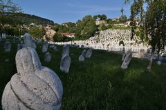 Typical Islamic graveyard / cemetery in Bosnia and Herzegovina Royalty Free Stock Photos