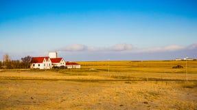 Typical Islandic farm near Akureyri in the north. In February stock photo
