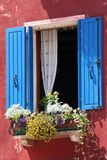 Typical Italian. Window in the Italian city Caorle Stock Photos