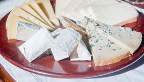 Typical Italian appetizer made of cheese: Fontina, Gorgonzola, T Royalty Free Stock Image