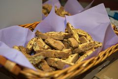 Typical Italian Biscuit with Almond: Crumbly Cantuccini from Tuscany.  stock photography