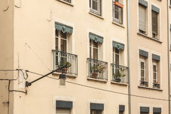 Typical building facade in the center of Grenoble, France Royalty Free Stock Photography