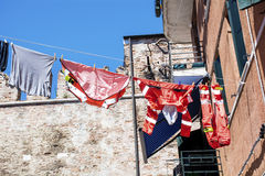 Typical italian building with hanging laundry Stock Image
