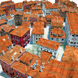 Typical Italian city, 3d illustration Royalty Free Stock Images