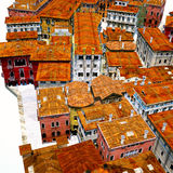 Typical Italian city, 3d illustration Royalty Free Stock Image