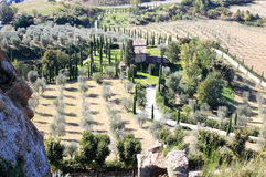 Typical Italian cypresses landscape, Umbria. Landscape existing from olive orchards and tight cypresses seen from the ancient wall of Orvieta, a city in Italian Royalty Free Stock Photography