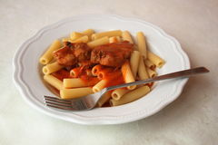 Typical italian dish - pasta with tomato Royalty Free Stock Photography