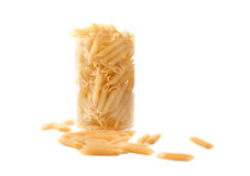Typical Italian food pasta in a jar,  on a white background.  Pasta, macarons, noodle, spaggeti in a glass. Royalty Free Stock Image