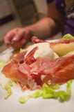 Typical italian food, a starter of parma ham and buffalo mozarel Stock Image