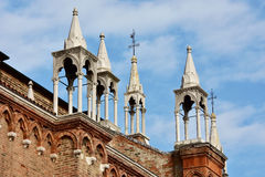 A typical italian gothic spires. Gothic spires from Santa Maria dei Frari church in Venice Royalty Free Stock Photo