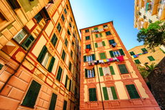 Typical italian houses in Genoa, Italy Royalty Free Stock Image