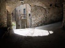 Typical Italian medieval village street detail. Stock Photos