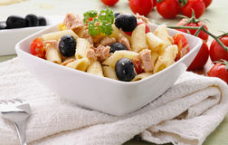 Typical italian pasta with vegetables and tuna Royalty Free Stock Photography