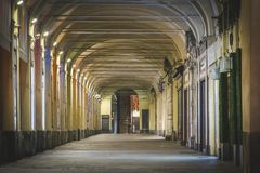 Typical italian portico. With columns and arched roof in Turin, Italy Royalty Free Stock Photos