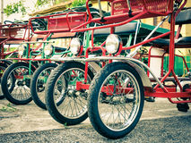 Typical Italian Rickshaws - Close Up. Side vintage view with details of typical italian rickshaws Stock Photography
