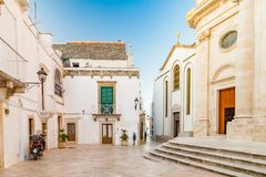 Typical Italian square in small village in Apulia Royalty Free Stock Image