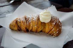 Typical Italian sweet pastry with ricotta from Naples - Sfogliatella with ricotta stock images