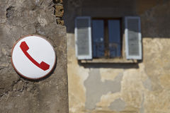 Typical Italian telephone sign. Obsolete telephone sign in Italy Stock Photos