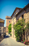 Typical italian village street , Tuscany, Italy. Stock Image