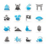 Typical Japan culture icons. Vector icon set Stock Images
