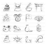 Typical Japan culture icons. Vector icon set Royalty Free Stock Image